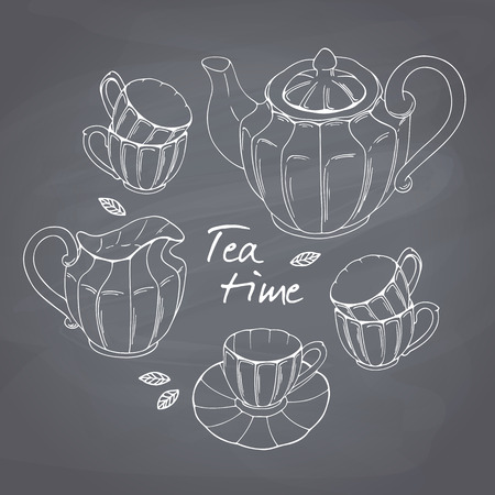 teatime: Hand drawn tea porcelain service set. Teatime chalk style vector llustration. Chalkboard background