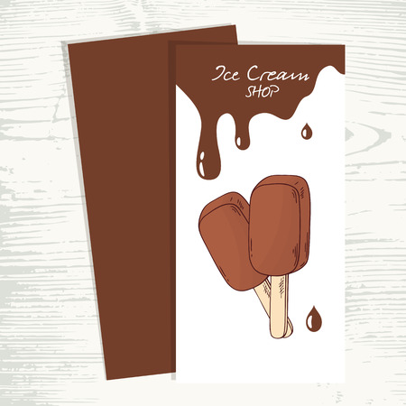 sweet background: Cafe menu template with hand drawn chocolate ice cream and drops. Vector illustration. Sweet shop background with popsicle and place for text Illustration