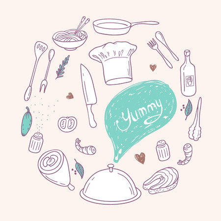 cooking icon: Round illustration with stylized food, hand lettering and scribble speach bubble. Doodle design elements for menu, cafe, books. Culinary background in vector