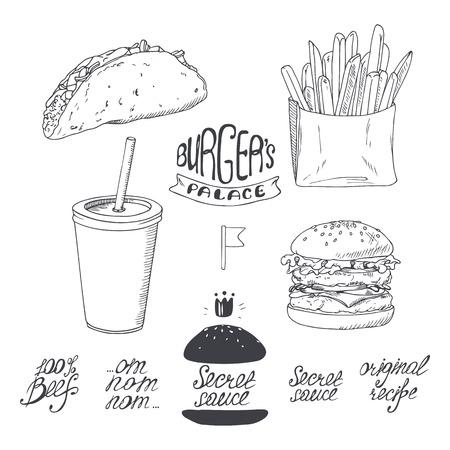 logo de comida: De comida r�pida bosquejado encuentra en blanco y negro. Mano ejemplo del vector dibujado por restaurantes, caf�s, dise�o cena menu