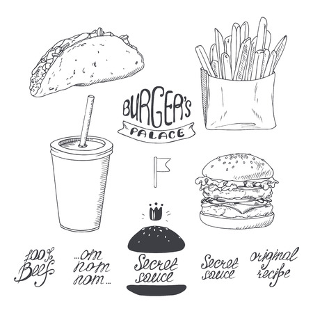 cheese burger: Sketched fast food set in black and white. Hand drawn vector illustration for restaurants, cafe, diner menu design