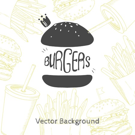 badge logo: Fast food background with hand drawn burger. Vector illustration for restaurant or cafe deign