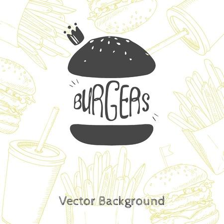 cafe food: Fast food background with hand drawn burger. Vector illustration for restaurant or cafe deign