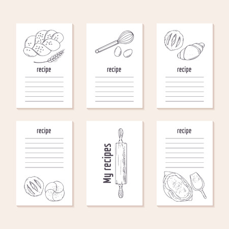 recipe background: Recipe cards collection with hand drawn bakery objects in vector. Sketched food Illustration. Culinary background