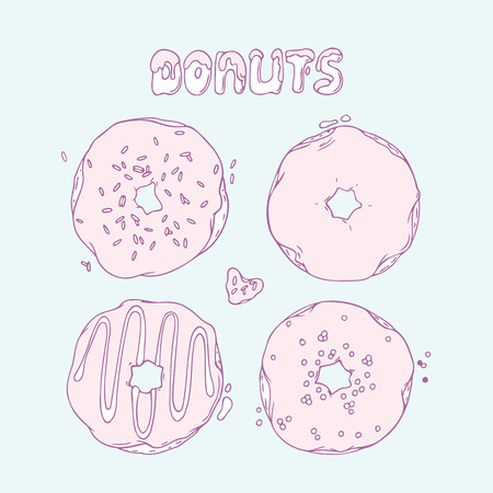 illustration of food: Conjunto de donas dibujados a mano aislados en el vector. Letras Sweet. Ilustraci�n postre Doodle. Dise�o de la Alimentaci�n