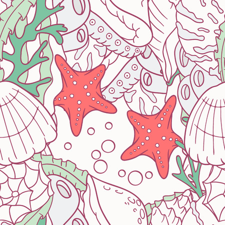 Doodle sea seamless pattern with starfish and shells in vector. Colorful underwater background Stock Illustratie