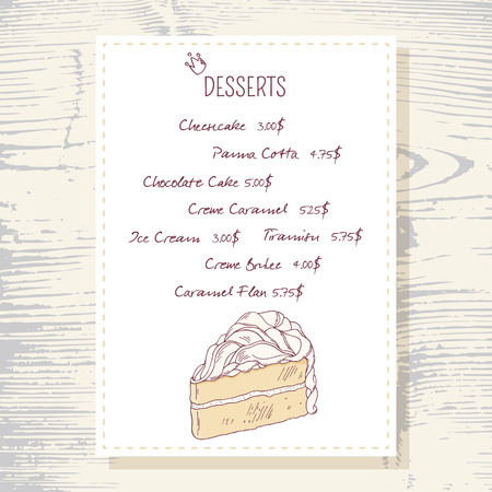 vanilla cake: Dessert menu template with sweet vanilla cake in vector. Doodle style illustration. Wood background