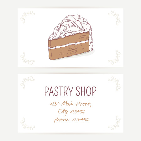pasticceria: Business card template with chocolate cake. Vector illustration. Sweet background for pastry shop with place for text Vettoriali