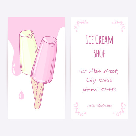 Business Card Template With Hand Drawn Ice Cream In A Waffle ...