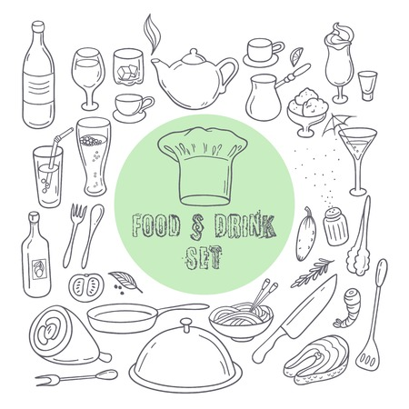 Food and drink outline doodle icons. Set of hand drawn kitchen elements for yor design. Vector illustration Ilustração