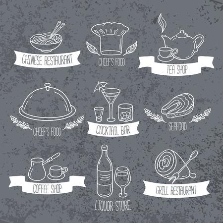 メニューやカフェのデザインの描かれた食べ物や飲み物のラベルを手します。グランジ背景に落書きレストラン エンブレム。ベクトル図