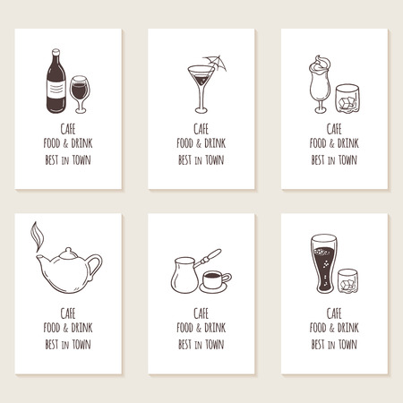 Business cards set with outline hand drawn drinks. Retro style background. Vector illustration