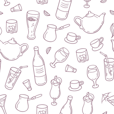 cocktail glasses: Seamless pattern with outline style drinks in vector. Background with beverages for design. Vector illustration Illustration