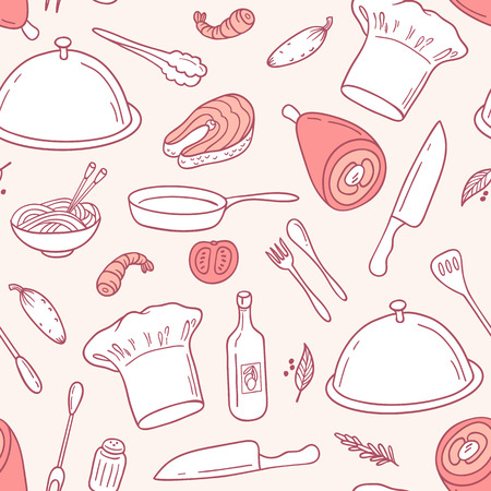 Outline seamless pattern with food elements in vector. Hand drawn illustration for menu, cafe or kitchen. Culinary background