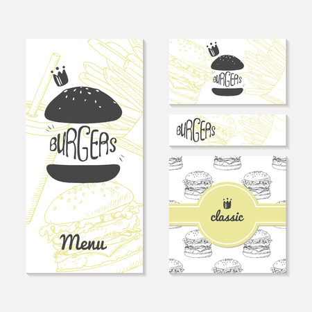 presentations: Set of cards with sketched burger. Fast food restaurant branding. Template menu, business card, banner, wrapping paper in vector. Illustration with place for text