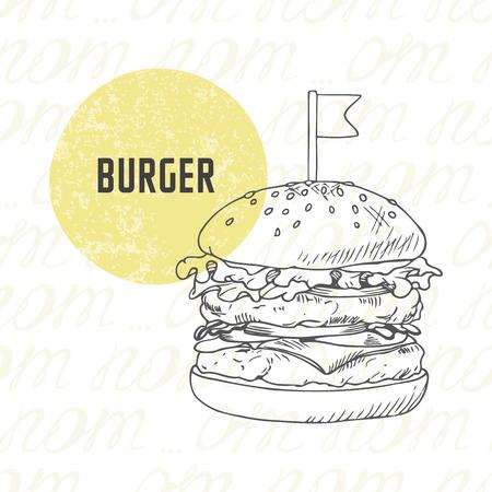 手描きバーガーハンバーガーチーズバーガー黒と白のイラスト。ベクトルでスケッチのファーストフード