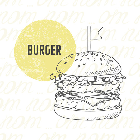 Illustration of hand drawn burgerhamburgercheeseburger in black and white. Sketched fast food in vector