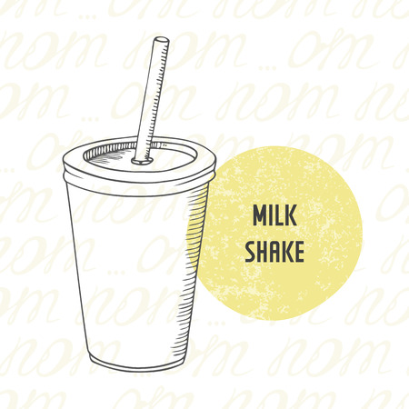 Illustration of hand drawn milk shake in paper cup with stick. Sketched drink for fast food restaurant in vector