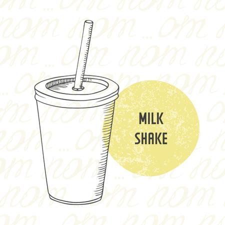 tomando leche: Ilustración de dibujado a mano batido de leche en vaso de papel con el palillo. Bebida bosquejado para el restaurante de comida rápida en el vector