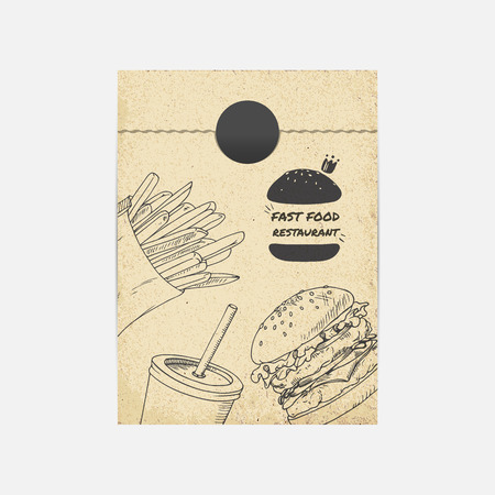 retro backgrounds: Kraft paper takeaway bag mockup in vector. Sketched illustration with fast food. Restaurant branding template