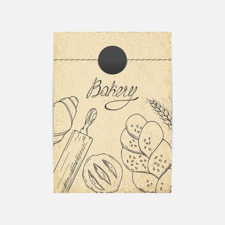 kraft paper: Kraft paper takeaway bag mockup in vector. Sketched illustration with baking objects. Bakery branding template