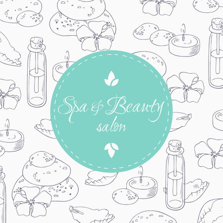 spa salon: Aromaterapy outline background with place for trext in vector. Spa salon hand drawn illustration