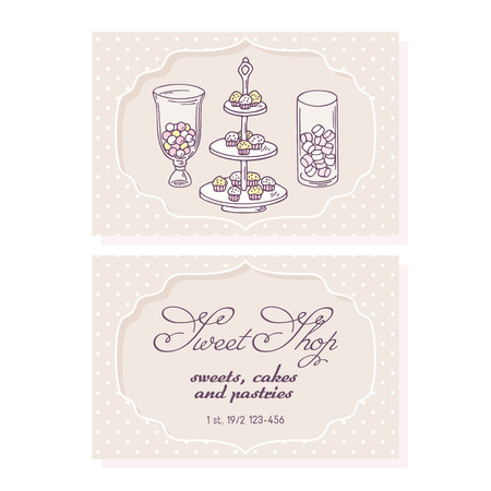 pasticceria: Candy bar business card template for pastry shop. Doodle illustration of sweets in vector
