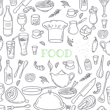 cocina caricatura: La comida y bebida contorno fondo garabato. Dibujado a mano elementos de dise�o de la cocina. Ilustraci�n vectorial Vectores