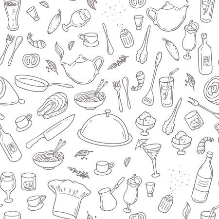 음식과 음료 개요 원활한 패턴입니다. 흑인과 백인, 손으로 그린 주방 배경입니다. 벡터 일러스트 레이 션