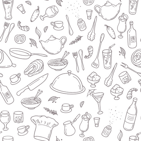 Food and drink outline seamless pattern. Hand drawn kitchen background in black and white. Vector illustration Çizim