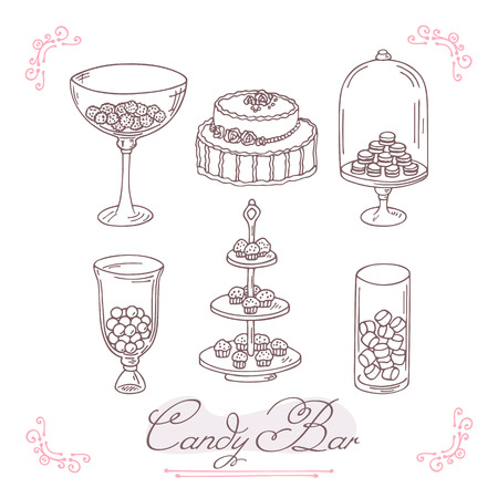candy bar: Set of candy bar objects. Bakery goods clip art. Vector illustration in outline style