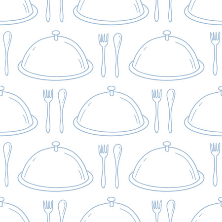 serve: Seamless pattern with hand drawn serve dish. Kitchen background in outline style. Vector illustration Illustration