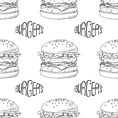 sandwich restaurant: Seamless pattern with hand drawn burger, cheeseburger or hamburger. Wrapping paper template for fast food restaurant. Sketched background. Hand lettering. Vector illustration. Illustration