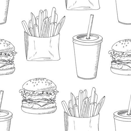 hamburguesa: Patrón sin fisuras con hamburguesa esbozado, papas fritas y batido. Modelo del fondo para el diseño del restaurante de comida rápida. Dibujado a mano de fondo de alimentos. Ilustración vectorial