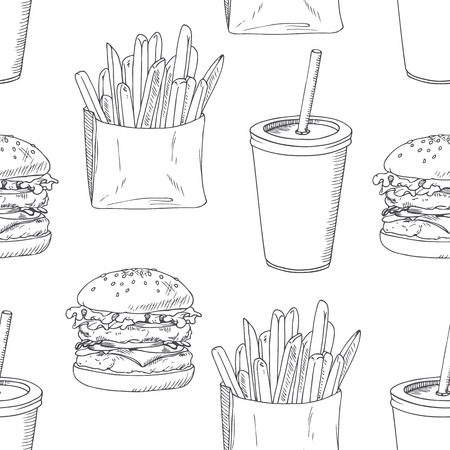 burger and fries: Seamless pattern with sketched burger, french fries and milk shake. Background template for fast food restaurant design. Hand drawn food background. Vector illustration Illustration