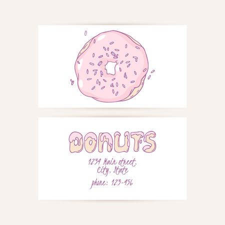 donut shop: Business cards set with hand drawn cake and place for text. Donut shop logo. Doodle vector illustration