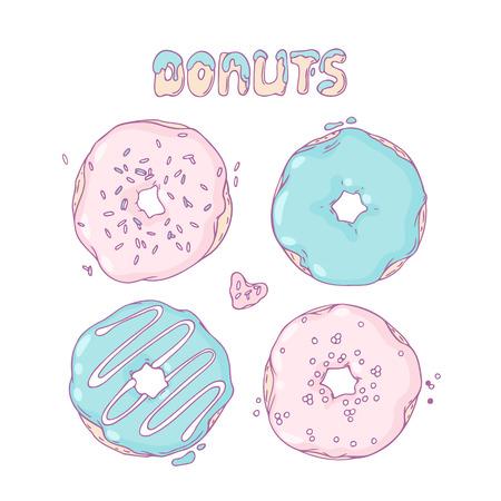 illustration of food: Conjunto de donas dibujadas a mano en el vector. Letras Sweet. Ilustraci�n postre Doodle. Dise�o de Alimentaci�n para el caf�, la entrega pasteleria