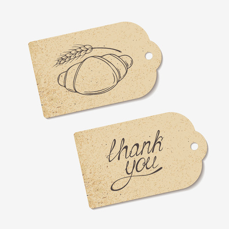 croissant: Craft paper tags with THANK YOU hand lettering and sketched croissant. Design for cafe, coffee shop, bakery. Vector illustration - eps 8 Illustration