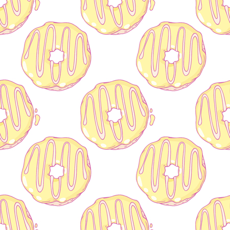 pasticceria: Hand drawn lemon donuts seamless pattern. Doodle vector illustration with pastries. Sweet background for cafe, coffee, pastry shop delivery or takeaway bag design