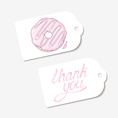 pasticceria: White paper tags. THANK YOU hand drawn lettering sign and sketched donut. Design for cafe, coffee and pastry shop, bakery. Vector illustration