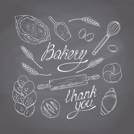 Bakery sketched objects. Chalk style vector illustration. Chalkboard food background Ilustração