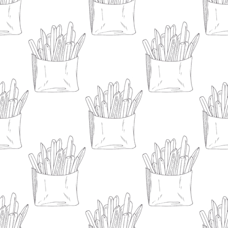 take away: Seamless pattern with hand drawn french fries. Sketched fast food vector illustration. Background for cafe, restaurant, eatery, diner, website or take away bag design Illustration