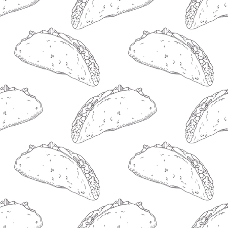 eatery: Seamless pattern with hand drawn taco. Sketched fast food vector illustration. Background for cafe, restaurant, eatery, diner, website or take away bag design