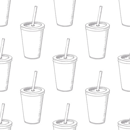 eatery: Seamless pattern with hand drawn cup of milk shake. Sketched fast food vector illustration. Background with drink for cafe, restaurant, eatery, diner, website or take away bag design