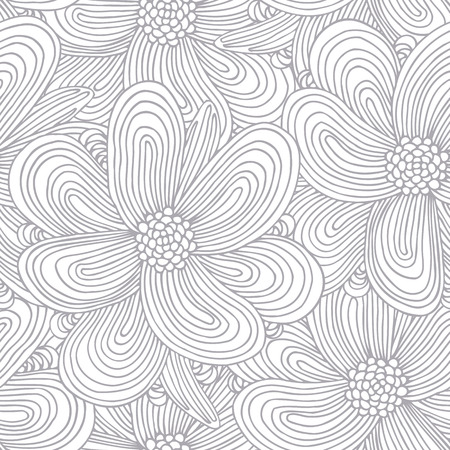 abstract doodle: Outline seamless pattern with doodle flowers silhouettes. Hand drawn floral background. Vector illustration