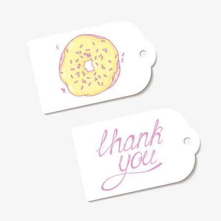 pasticceria: White paper tags. THANK YOU hand drawn lettering sign and sketched banana donut. Design for cafe, coffee and pastry shop, bakery. Vector illustration Vettoriali