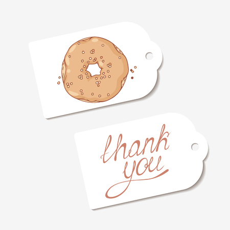 pasticceria: White paper tags. THANK YOU hand drawn lettering sign and sketched chocolate donut. Design for cafe, coffee and pastry shop, bakery. Vector illustration Vettoriali