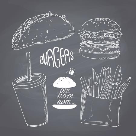 スケッチのファーストフードのハンバーガー、フライド ポテト、ミルク シェークのタコスと紙カップ入り。カフェ、レストラン、食堂のメニューの