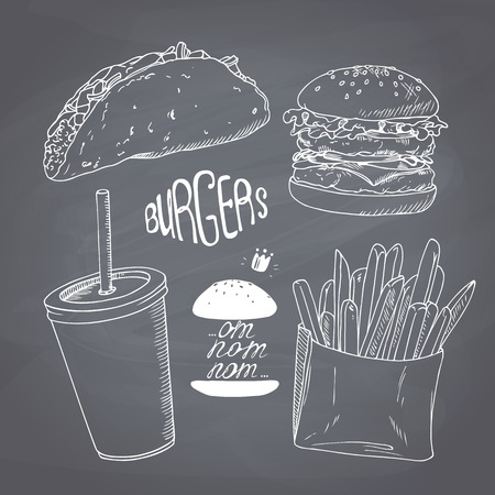 burger and fries: Sketched fast food set with burger, french fries, taco and paper cup of milk shake. Design for cafe, restaurants, diner menu. Chalk style vector illustration. Chalkboard background