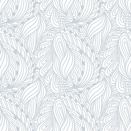 leaf line: Hand drawn outline textile seamless pattern. Doodle print. Ink style vector illustration. Background can be used for cloth, fabric, wrapping paper or any other design Illustration